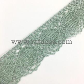 Puntilla de bolillo de ancho 3.5 cm y composición 100 % algodón. Disponible en varios colores