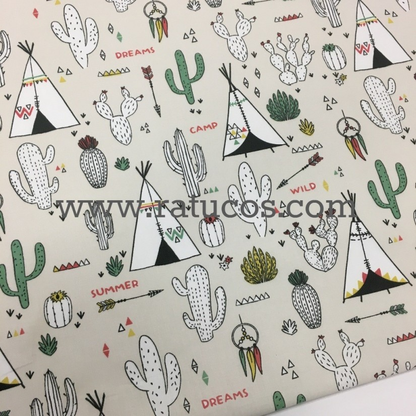 Popelin Tipis y Cactus, tela de ancho 150 cm