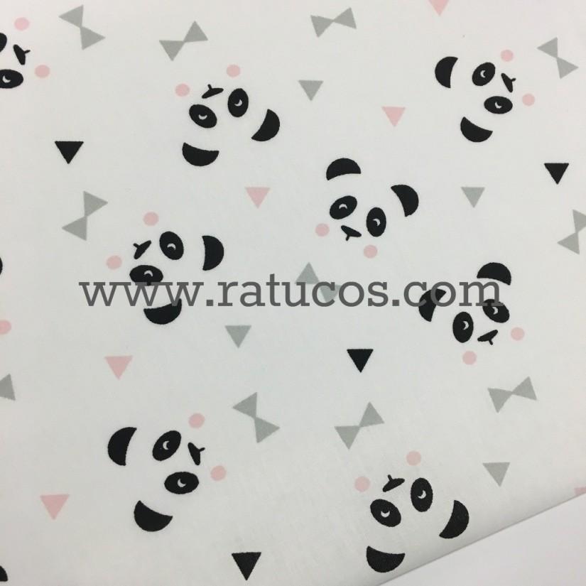 Popelin caras de panda, tela de ancho 150 cm