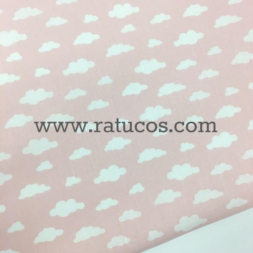 Tela de popelin NUBES ROSA. Tela de ancho 150 cm