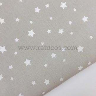 Tela de popelín, de ancho 150 cm. Estrellas griso negativo, serie Argos.