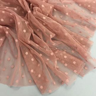 Tela de tul plumeti en color rosa viejo, tela  de ancho 150 cm