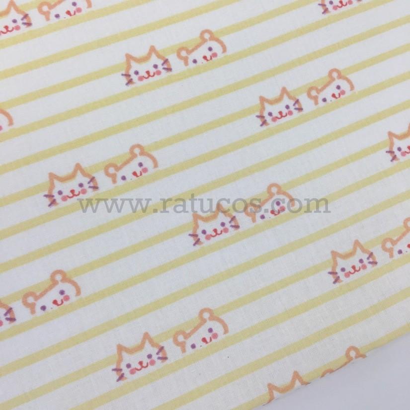 Tela de popelin, de ancho 150 cm y estampado de pajaritas. Serie Bunny