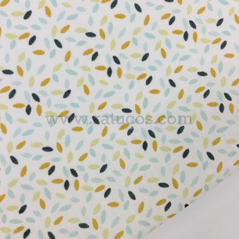 Tela de popelin, de ancho 150 cm y estampado de chispitas, algodón 100 %