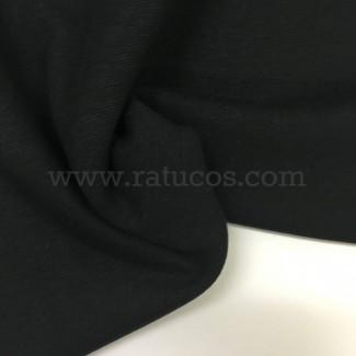 Tela de punto para puños y cinturas, color negro, 95% Algodón y 5% Elastán