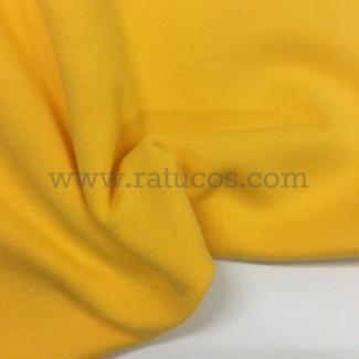 Tela de punto para puños y cinturas, color amarillo, 95% Algodón y 5% Elastán