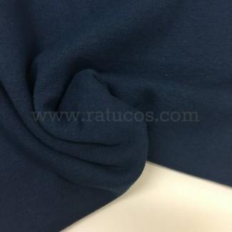 Tela de punto para puños y cinturas, color índigo, 95% Algodón y 5% Elastán
