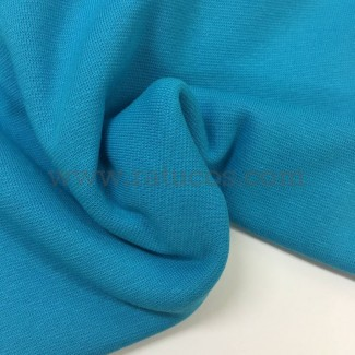 Tela de punto para puños y cinturas, color turquesa, 95% Algodón y 5% Elastán