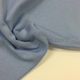 Tela de punto para puños y cinturas, color azul lavanda, 95% Algodón y 5% Elastán