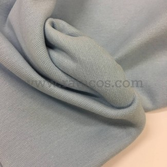 Tela de punto para puños y cinturas, color azul celeste, 95% Algodón y 5% Elastán