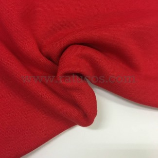 Tela de punto para puños y cinturas, color rojo, 95% Algodón y 5% Elastán
