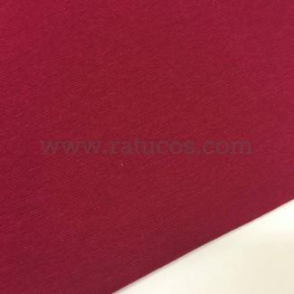 Tela de punto para puños y cinturas, color burdeos, 95% Algodón y 5% Elastán