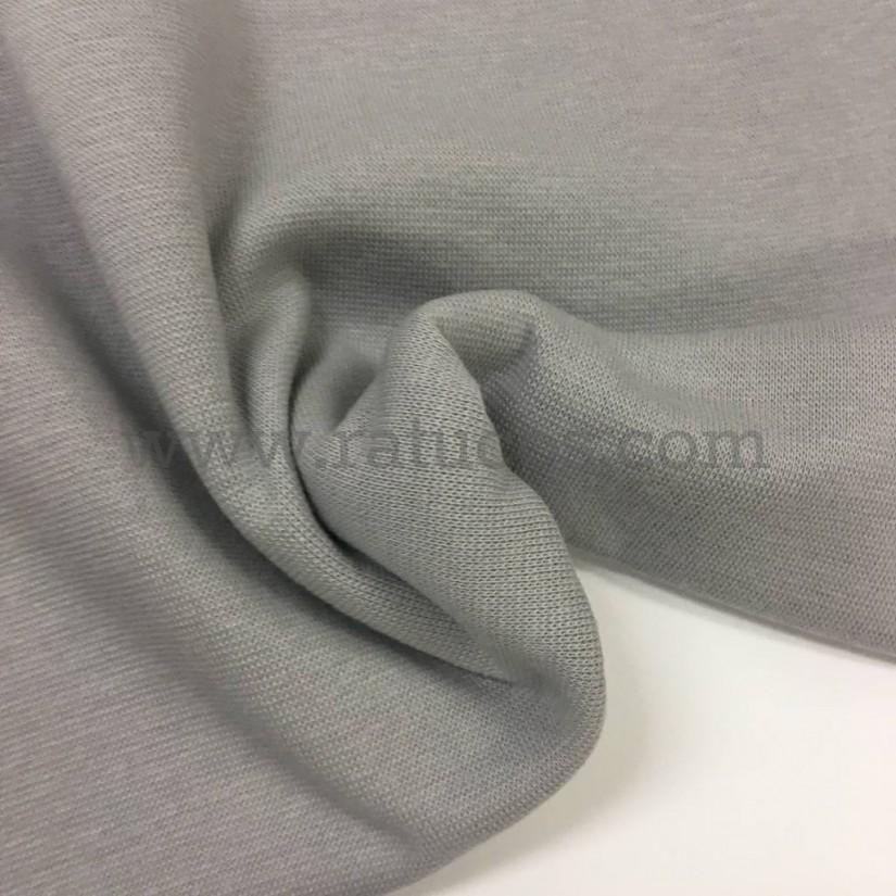 Tela de punto para puños y cinturas, color gris, 95% Algodón y 5% Elastán