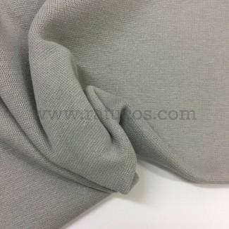 Tela de punto para puños y cinturas, color gris medio, 95% Algodón y 5% Elastán