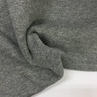 Tela de punto para puños y cinturas, color gris melange, 95% Algodón y 5% Elastán