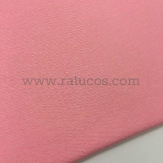 Tela de punto para puños y cinturas, color rosa, 95% Algodón y 5% Elastán