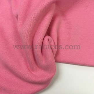 Tela de punto para puños y cinturas, color rosa chicle, 95% Algodón y 5% Elastán