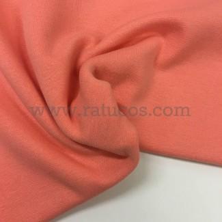Tela de punto para puños y cinturas, color melocotón, 95% Algodón y 5% Elastán