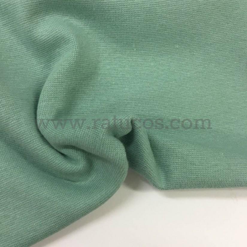 Tela de punto para puños y cinturas, color mint, 95% Algodón y 5% Elastán