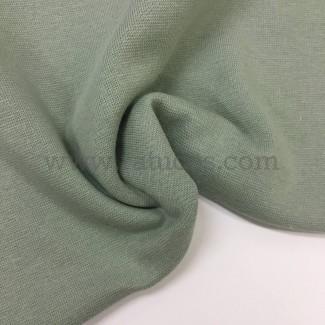 Tela de punto para puños y cinturas, color kaki, 95% Algodón y 5% Elastán