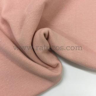 Tela de punto para puños y cinturas, color salmón, 95% Algodón y 5% Elastán