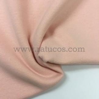 Tela de punto para puños y cinturas, color salmón claro, 95% Algodón y 5% Elastán