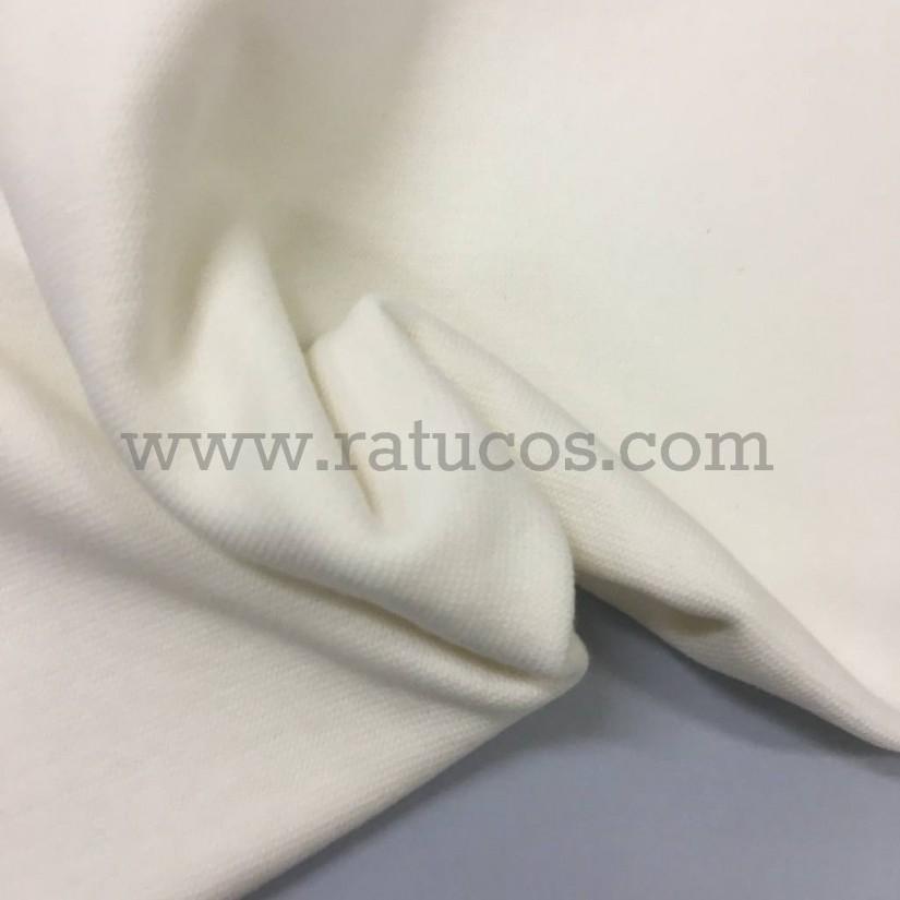 Tela de punto para puños y cinturas, color crudo, 95% Algodón y 5% Elastán