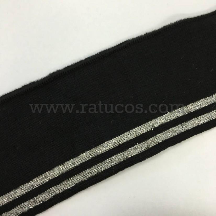 Tela de punto tubular para puños y cinturillas. Hilo de lurex en color plata
