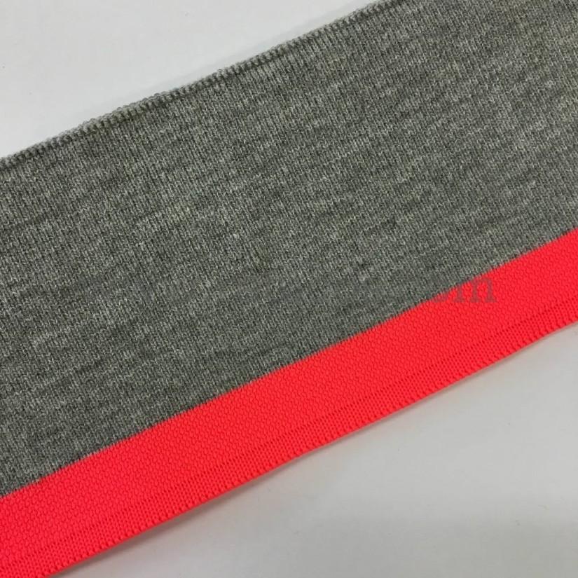 Tela de punto tubular para puños y cinturillas. Franja en color flúor