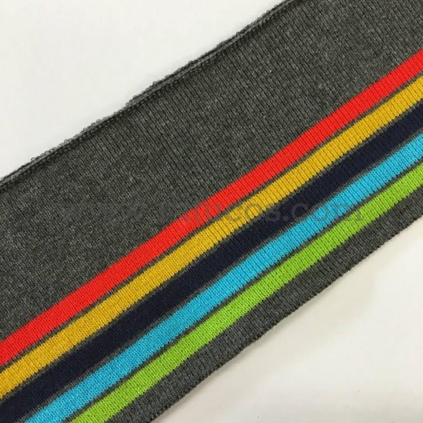 Tela de punto tubular para puños y cinturillas. Rayas de colores.