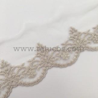 Puntilla de tul bordado de 7 cm de ancho. Serie Nala. Disponible en varios colores.
