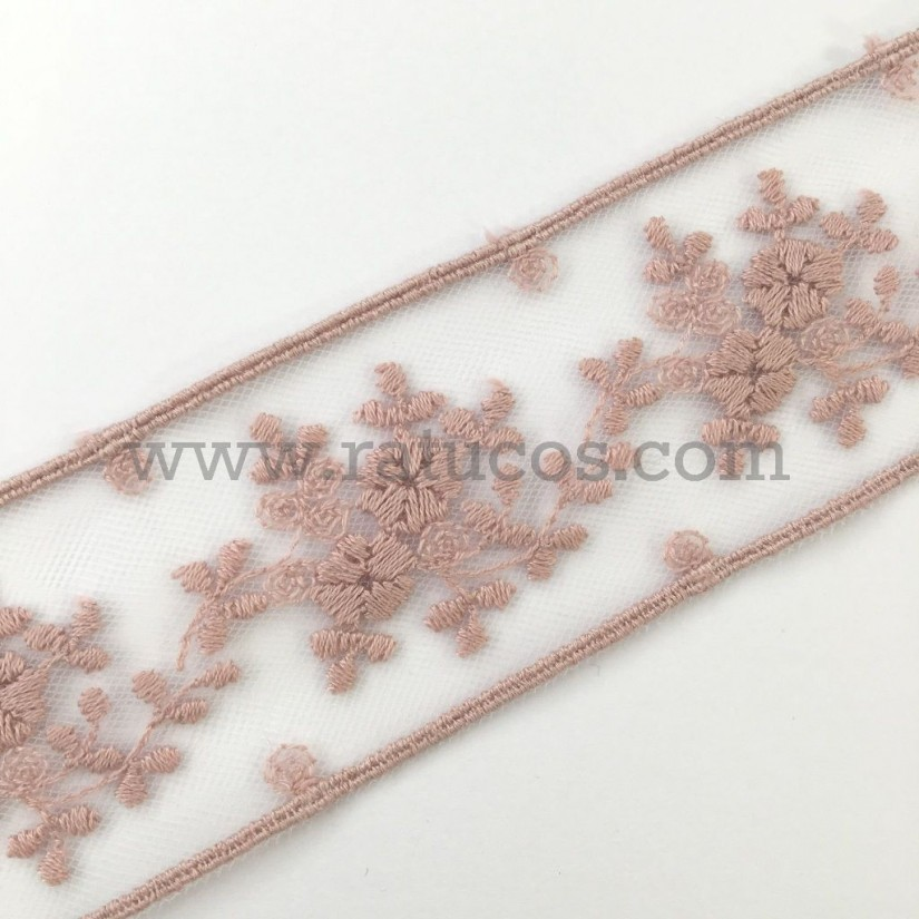 Entredos de tul de 4.5 cm de ancho. Serie Dara. Disponible en varios colores.
