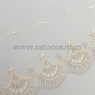 Puntilla de tul bordado de 15cm de ancho. Serie Ayla. Disponible en varios colores.
