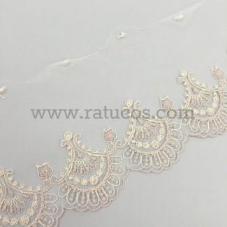 Puntilla de tul bordado de 11 cm de ancho. Serie Ayla. Disponible en varios colores.