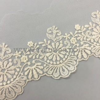 Puntilla de tul bordado de 7 cm de ancho. Serie Jimena. Disponible en varios colores.