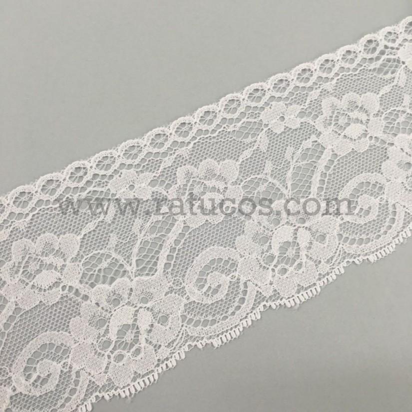 Puntilla Jacquard 7.5 cm en color blanco y marfil