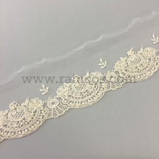 Puntilla de tul bordado de 5 cm de ancho. Serie Isadora.