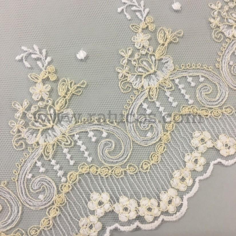 Puntilla de tul bordado de 14 cm de ancho. Serie Ana. Disponible en varios colores.