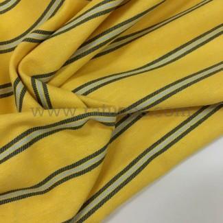 Jersey de algodón tejido a rayas verde oliva rayas verde azulado de la raya por el metro