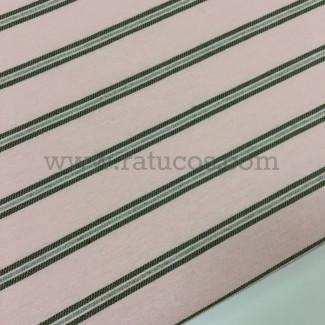 Tela de rayas horizontales. Tela de ancho 150 cm y composición 88% Algodón y 12% Poliéster
