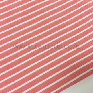 Tela de rayas seersucker horizontales. Tela de ancho 146 cm y composición 100% algodón