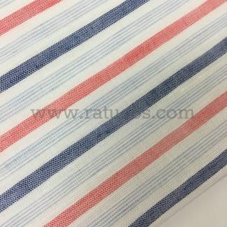 Tela de rayas horizontales. Tela de ancho 150 cm. Tela de composición lino y algodón.
