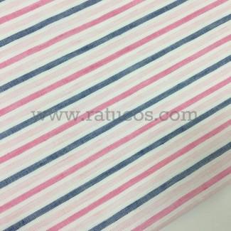 Tela de rayas horizontales. Tela de ancho 150 cm. Tela de mezcla de lino y algodón.