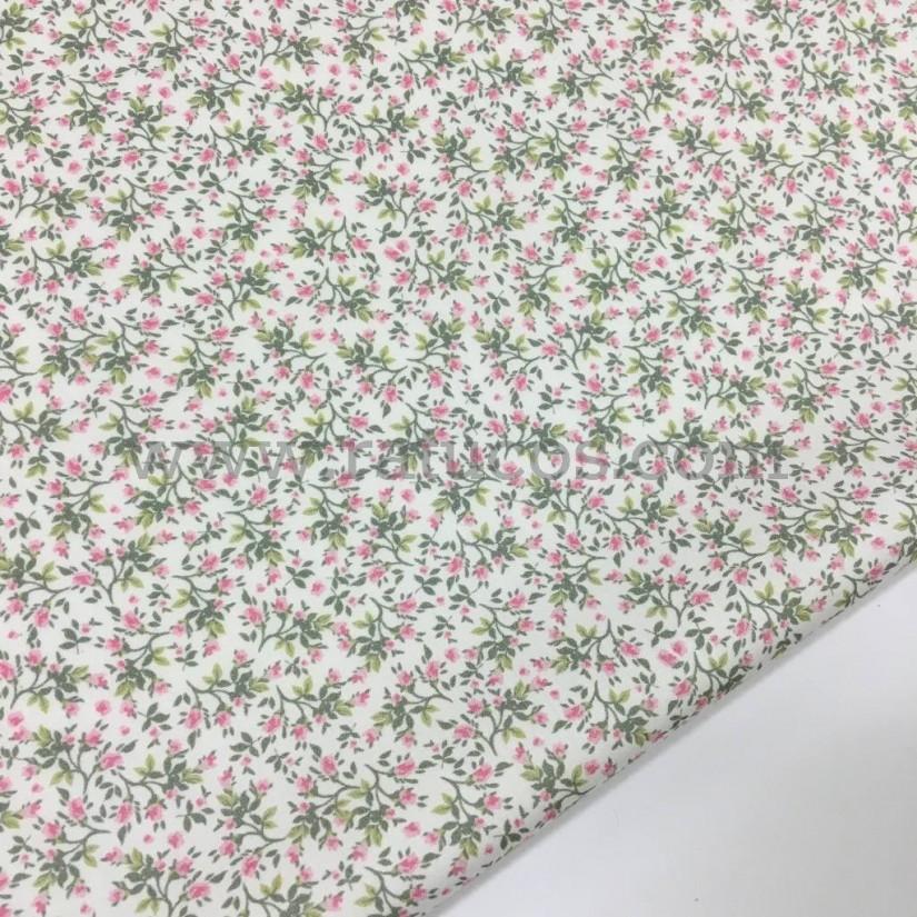 Tela de viscosa con estampado de flores