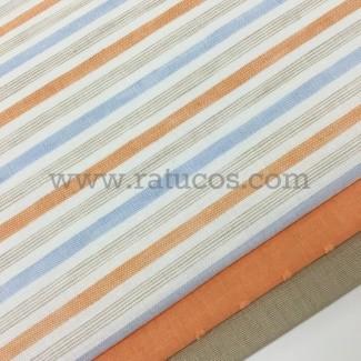 Combinación de telas: Rayas Mandarina Serie Caleta