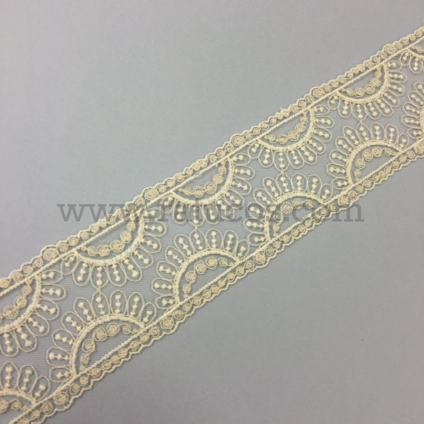 Entredos de tul de 6.4 cm de ancho. Serie Ayla. Disponible en varios colores.