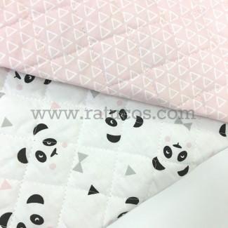 Tela de popelín acolchada, pandas rosa