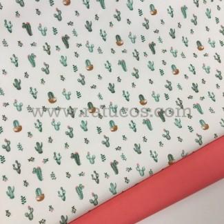 Combinación de telas: Popelín Mini Cactus Verde