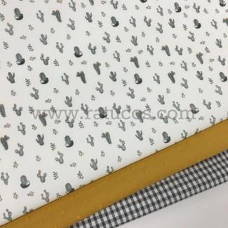 Combinación de telas: Popelín Mini Cactus Gris