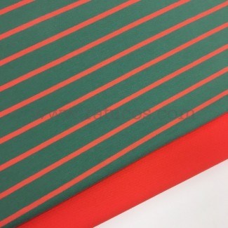 Combinación de telas: Punto sudadera Rayas Verde / Coral